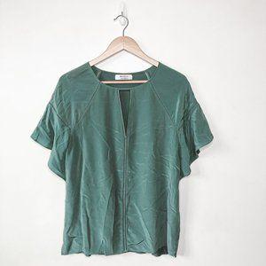 Bailey 44 100% Silk Moss Green Flutter Sleeve Blouse Sz M